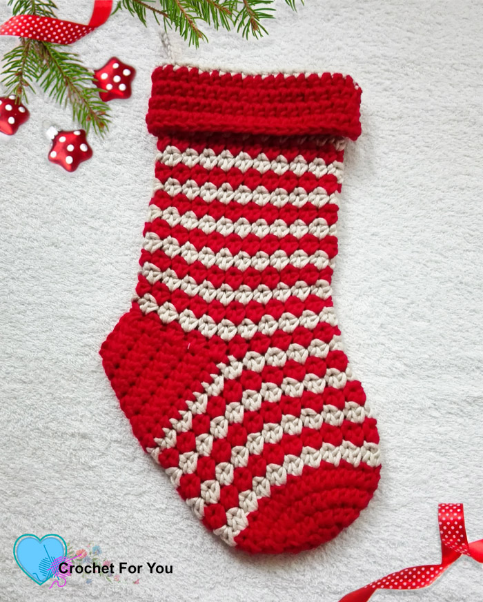 Jolly Pebbles Christmas Stocking Free Pattern