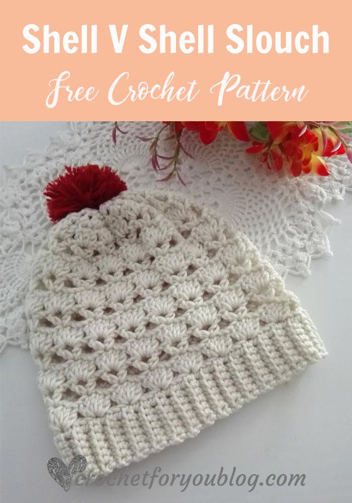 Shell V Shell Crochet Slouch - free crochet pattern