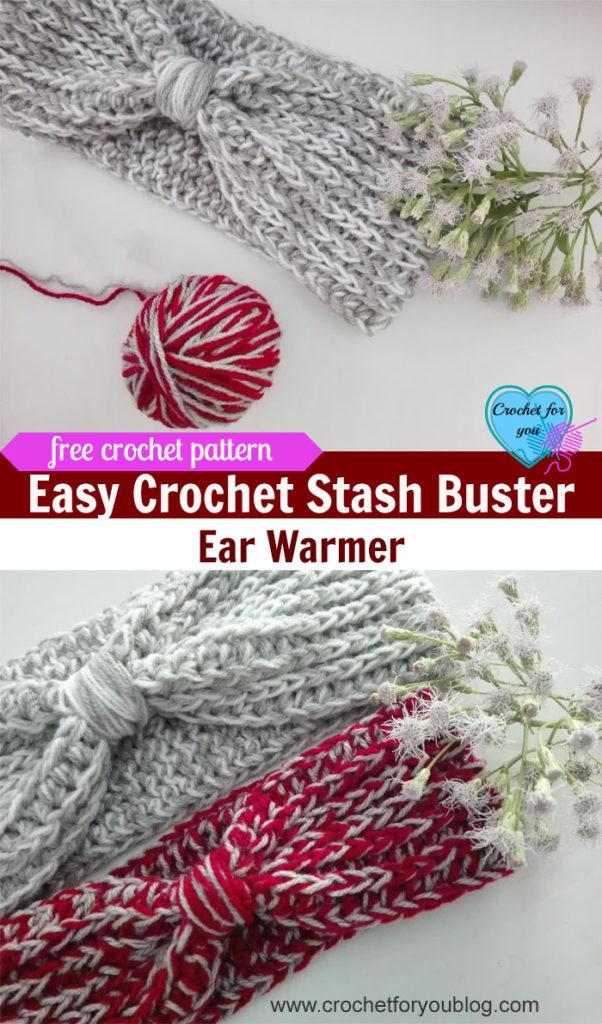 Easy Crochet Stash buster Ear Warmer - Free Pattern