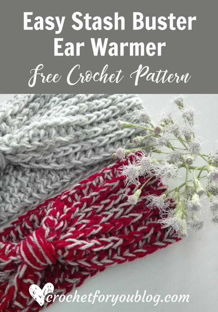 Easy Stash Buster Ear Warmer - free crochet pattern