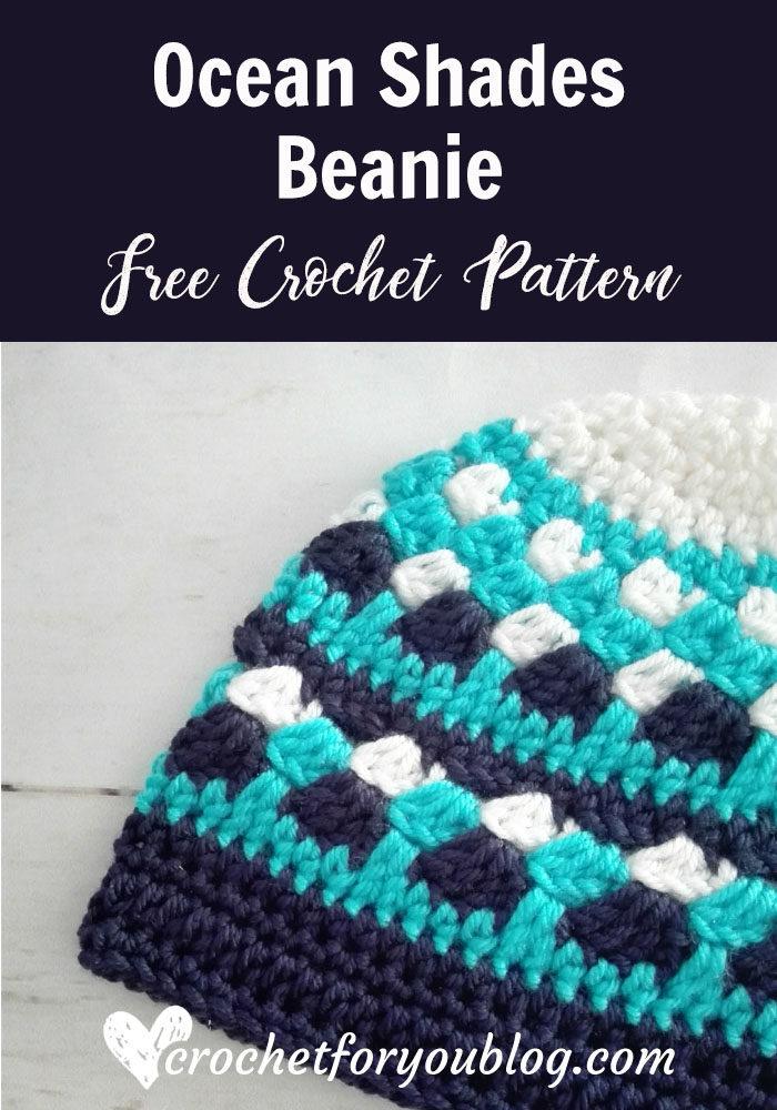 Ocean Shades Beanie - free crochet pattern
