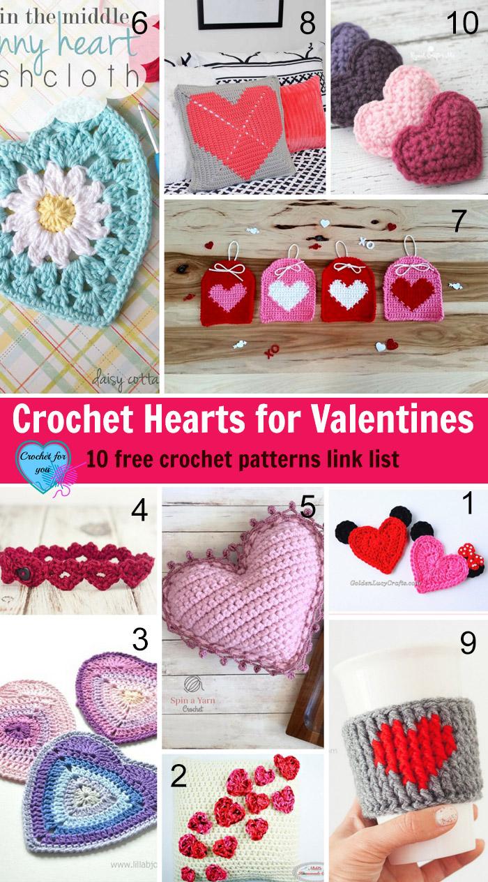 Crochet Hearts for Valentines - 10 free crochet patterns link list