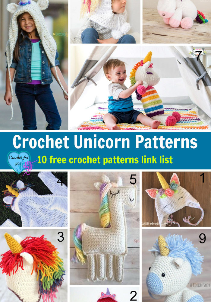 Crochet Unicorn Patterns - 10 free crochet patterns link list