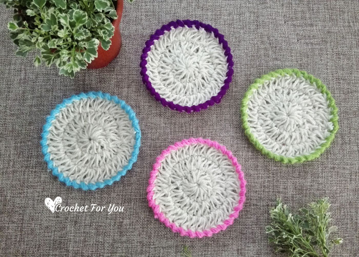 Jute Hemp Crochet Coasters - free pattern