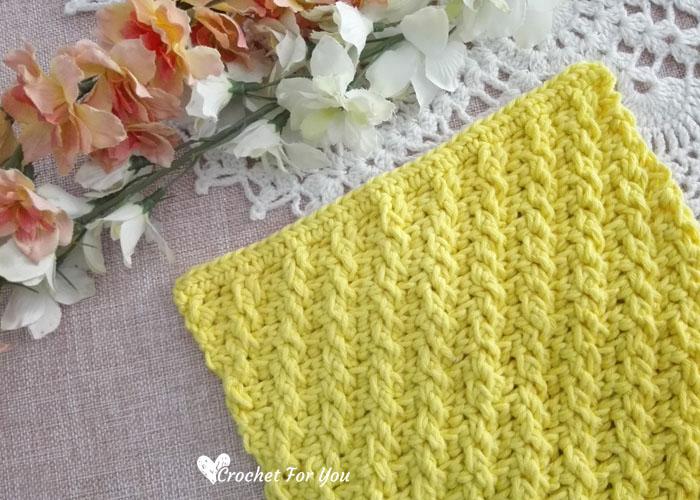 Crochet Diagonal Raised Stitch Dishcloth - free pattern