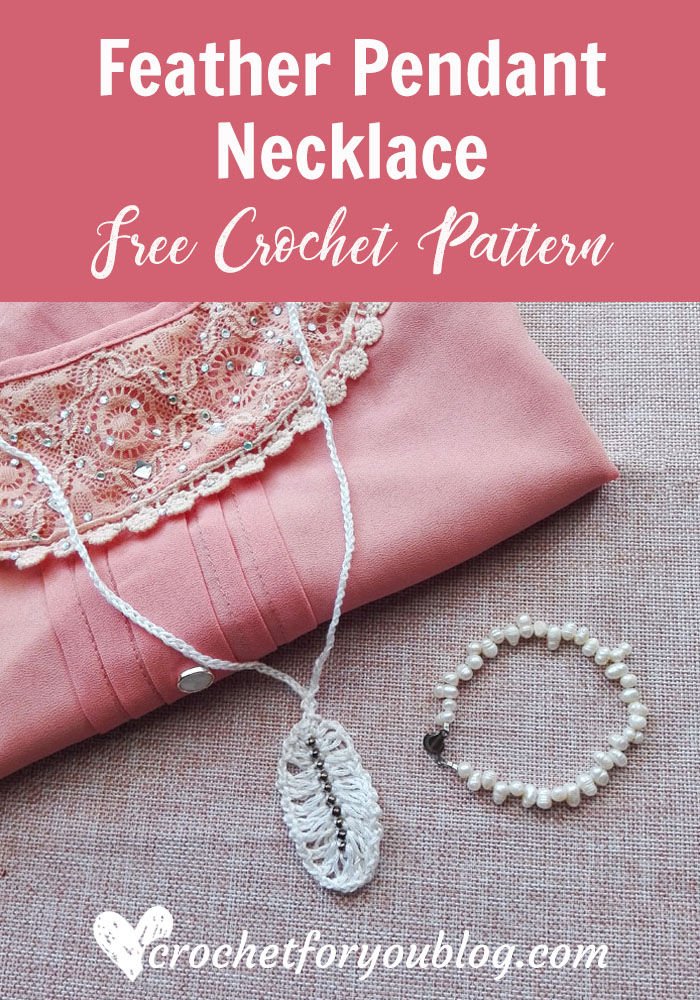 Crochet Feather Pendant Necklace Free Pattern