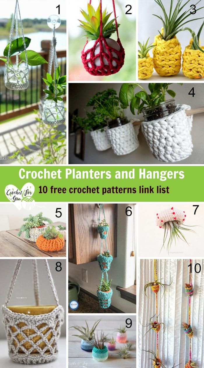 Crochet Planters and Hangers - 10 Free Crochet Pattern Link List