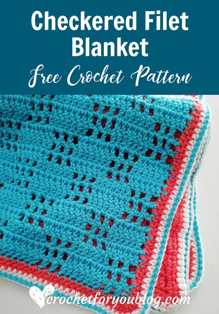 Crochet Checkered Filet Blanket Free Pattern