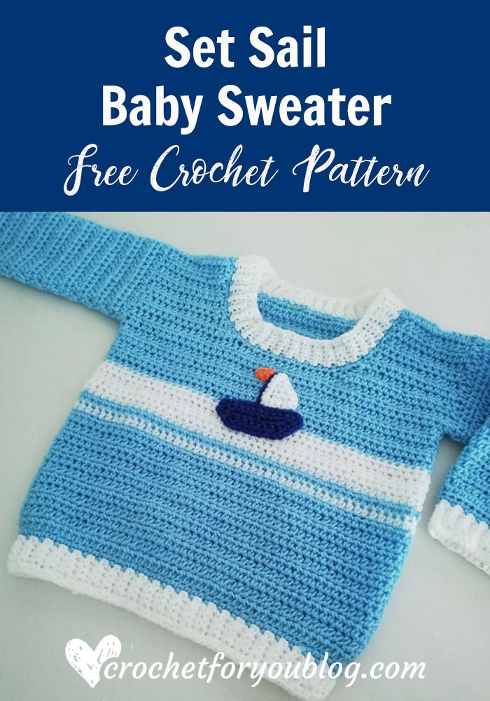 Crochet Set Sail Baby Sweater Free Pattern