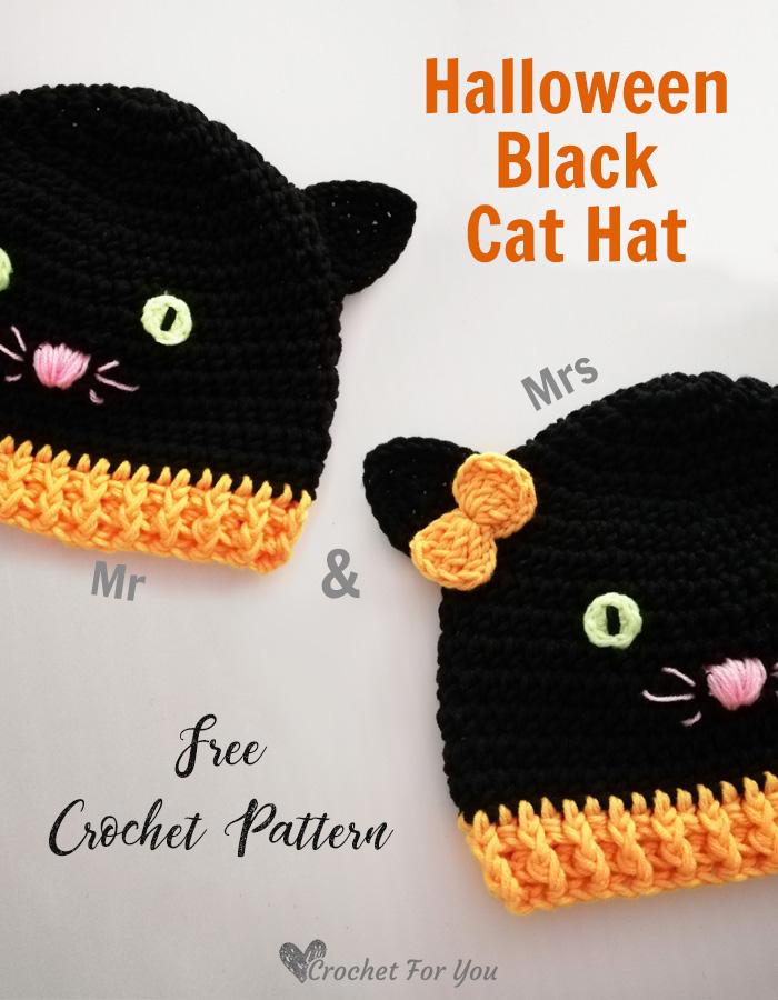 Crochet Halloween Black Cat Hat - free pattern