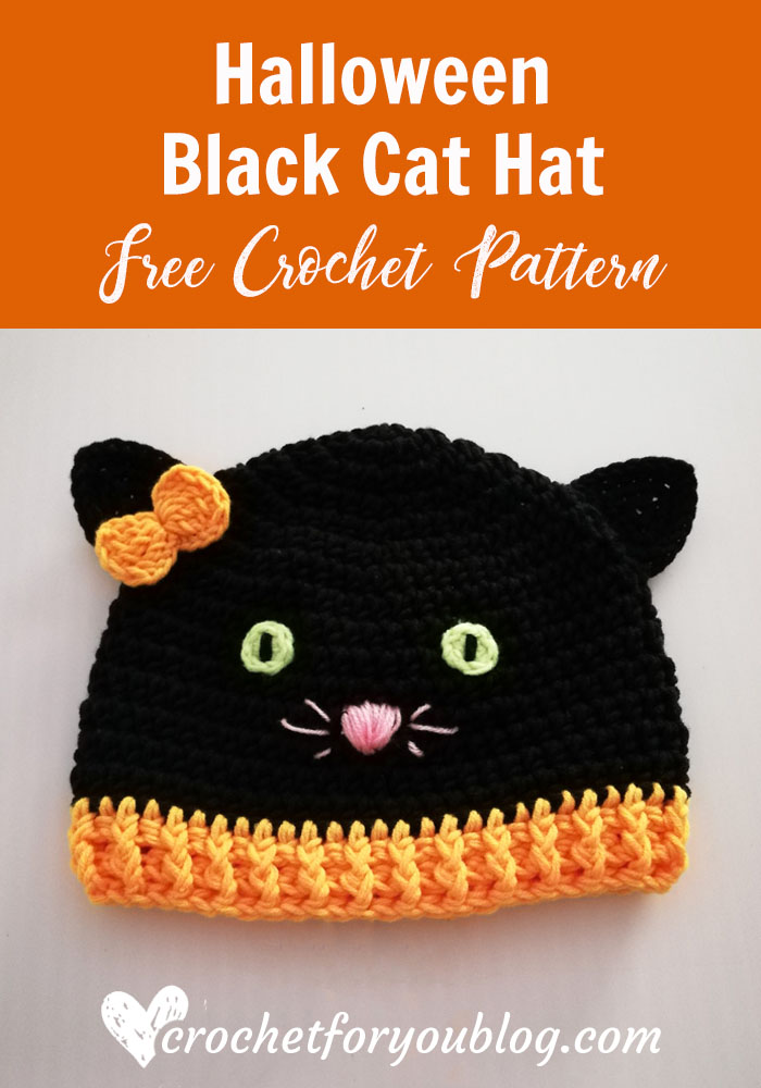 Crochet Halloween Black Cat Hat - free pattern