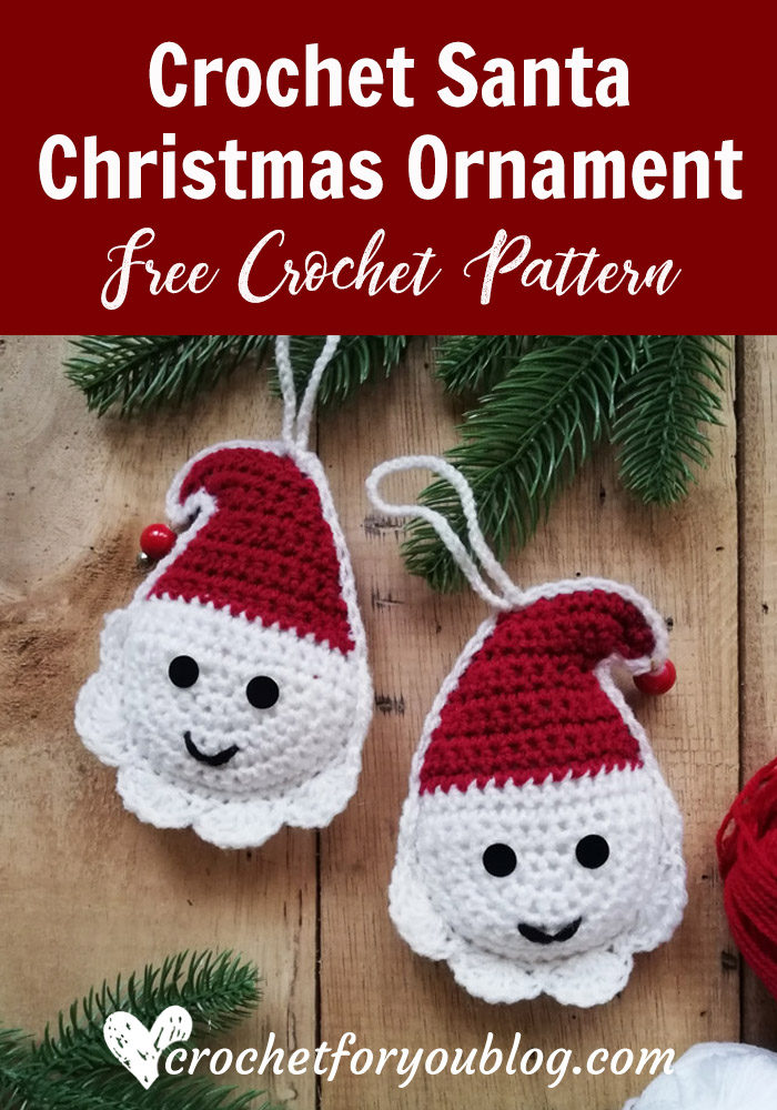 Crochet Santa Christmas Ornament Free Pattern