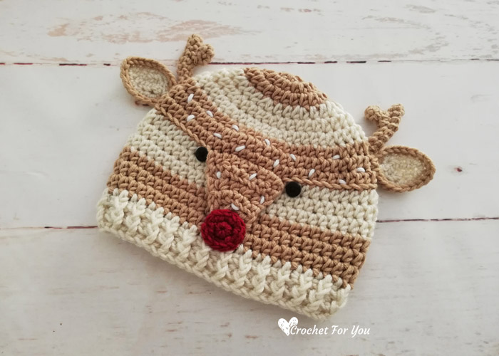 Crochet Woodland Spotted Deer Hat Free Pattern