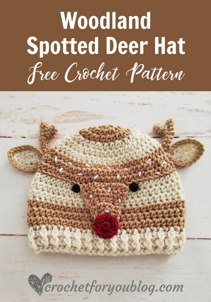 Crochet Woodland Spotted Deer Hat Free Pattern