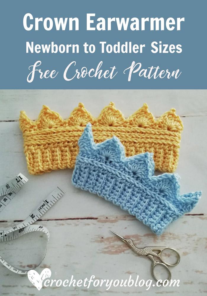 Crochet Crown Earwarmer Newborn to Toddler Sizes - Free Pattern