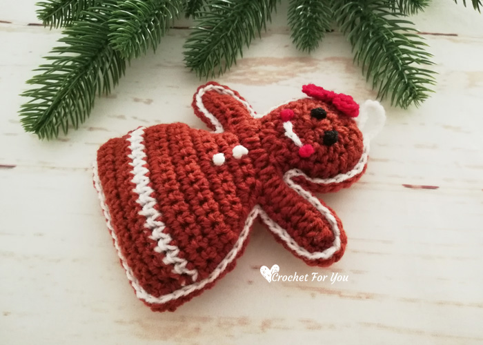Crochet Gingerbread Girl Christmas Ornament Free Pattern