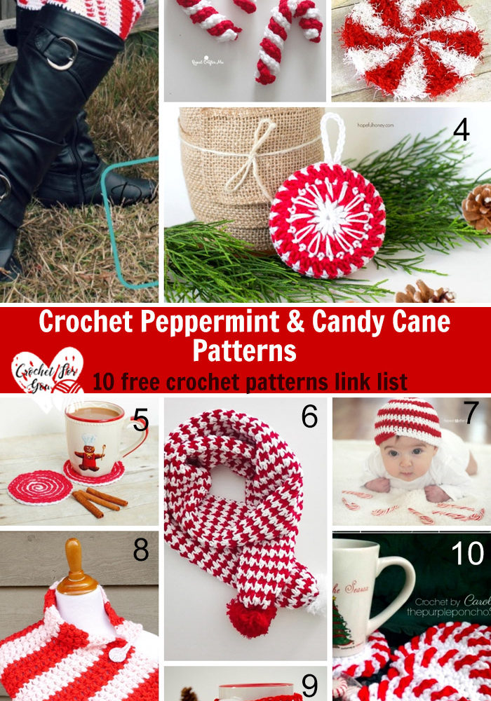 Crochet Peppermint & Candy Cane Patterns - 10 free crochet pattern link list