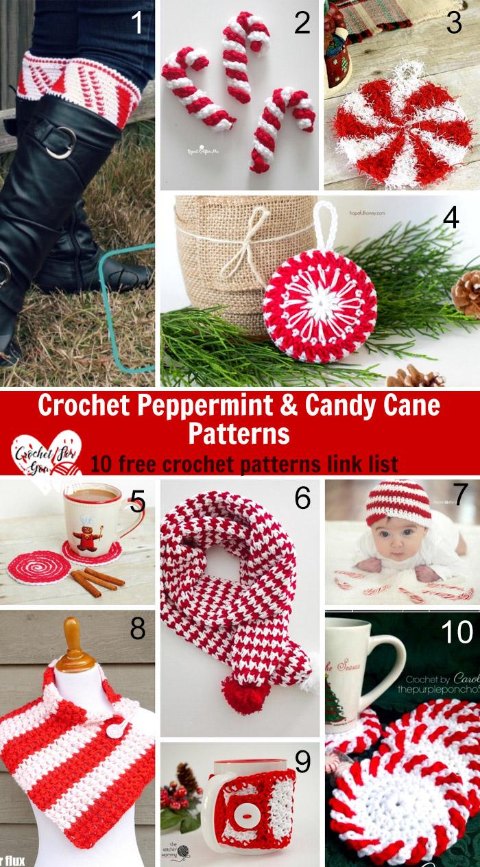 Crochet Peppermint & Candy Cane Patterns - 10 free crochet pattern link list