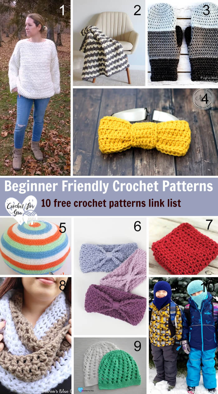 Beginner Friendly Crochet Patterns – 10 free crochet pattern link list