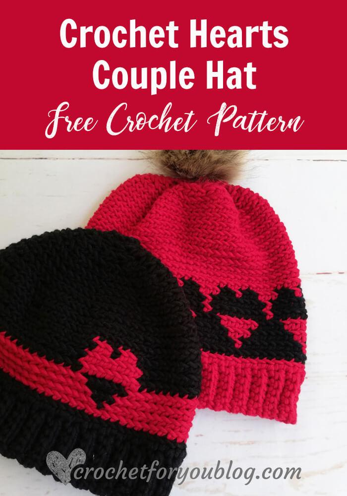Crochet Hearts Couple Hat Free Pattern