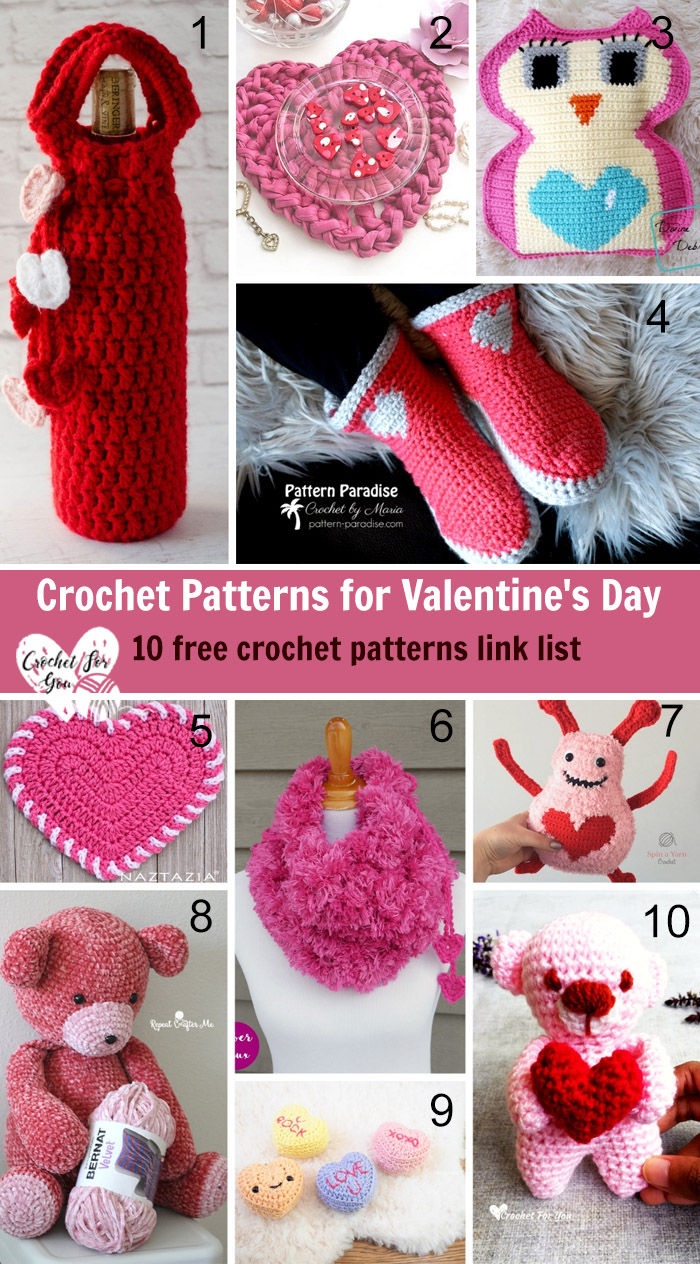 Crochet Patterns for Valentine's Day - 10 free crochet pattern link list