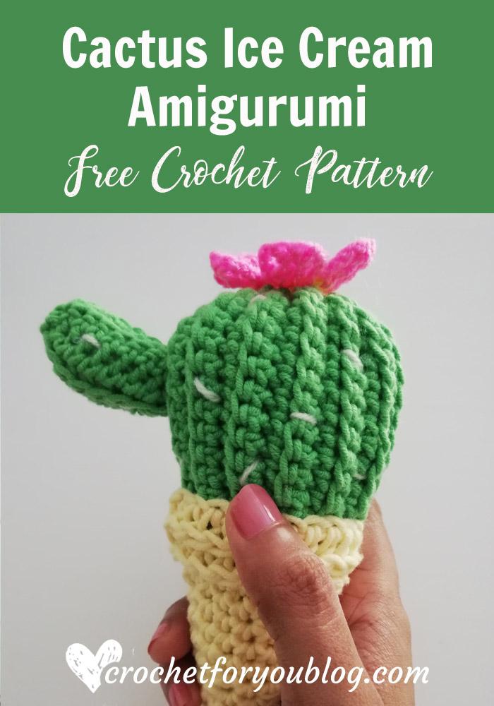Cactus Ice Cream Cone Free Crochet Pattern