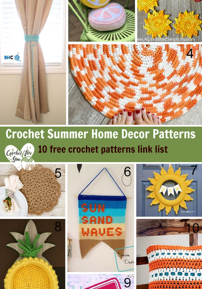 Crochet Summer Home Decor Patterns-10 free crochet pattern link list