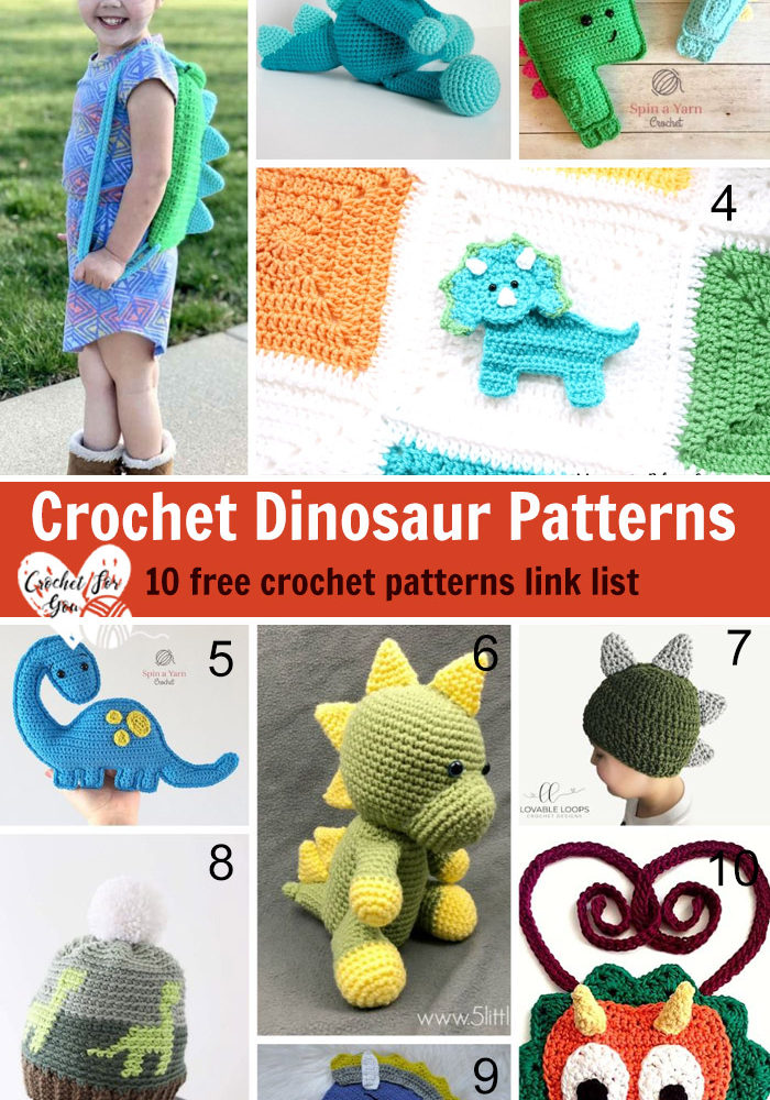 Crochet Dinosaur Patterns – 10 free crochet pattern link list