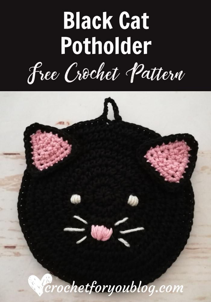Crochet Black Cat Potholder Free Pattern