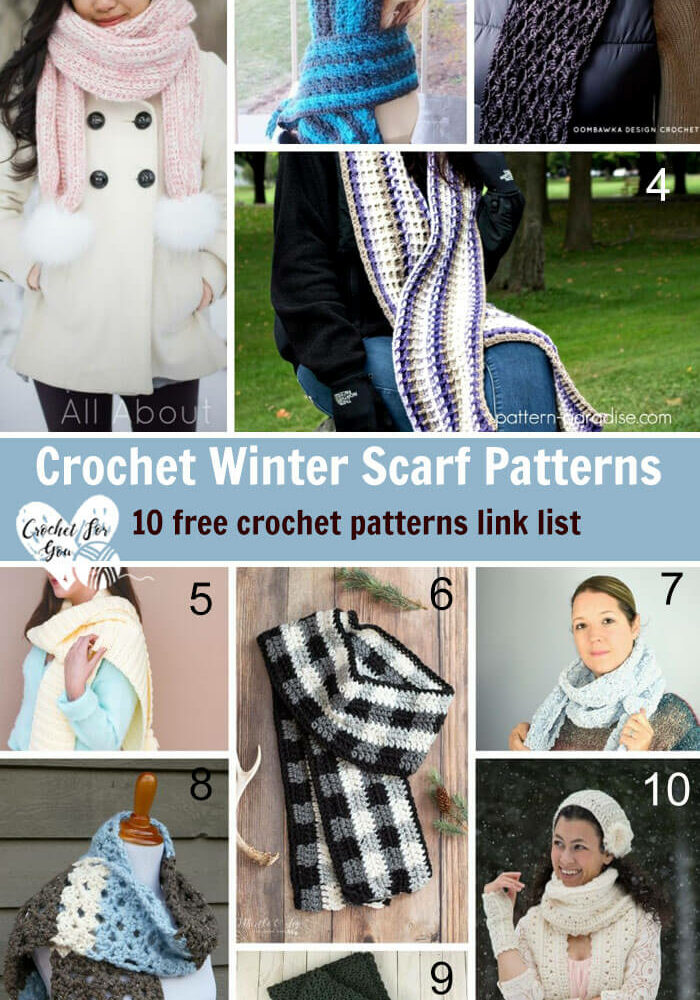 Crochet Winter Scarf Patterns 10 free crochet pattern link list.