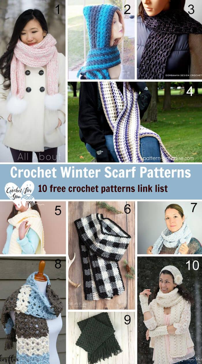 Crochet Winter Scarf Patterns 10 free crochet pattern link list.