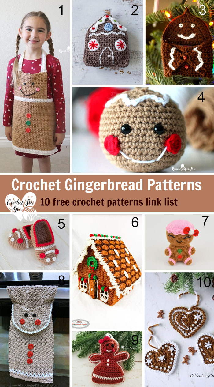 Crochet Gingerbread Patterns – 10 free crochet pattern link list
