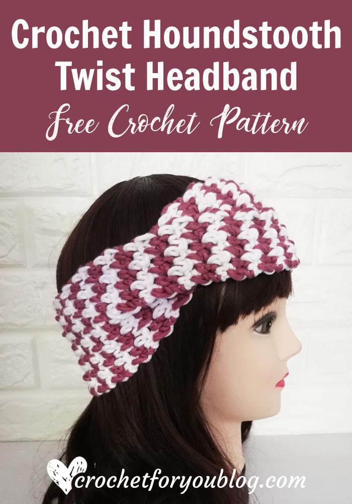 Crochet Houndstooth Twist Headband