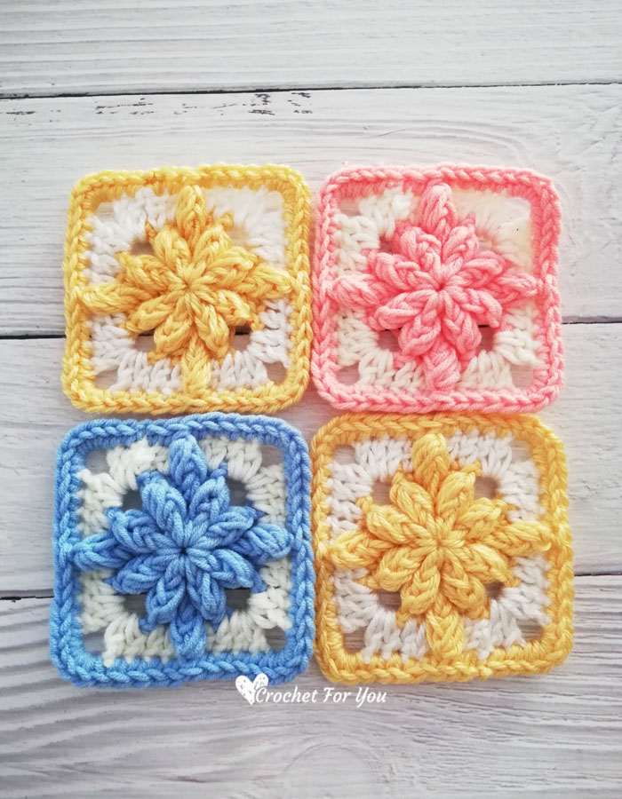 Crochet Bobble Drops Flower Granny Square