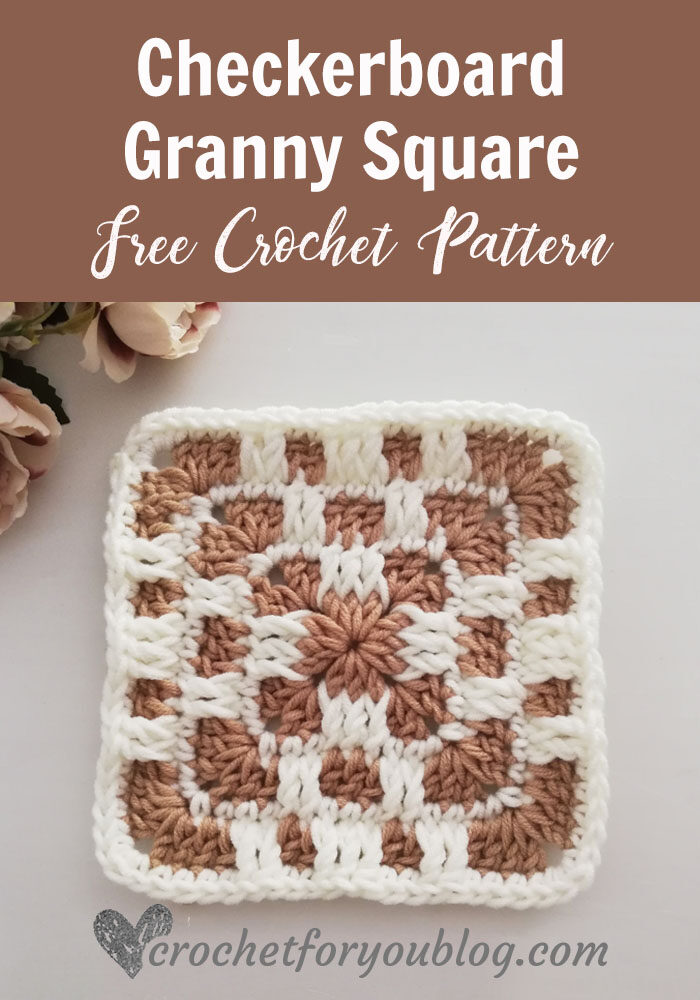 Crochet Checkerboard Granny Square Free Pattern