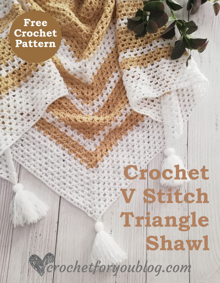Crochet V Stitch Triangle Shawl
