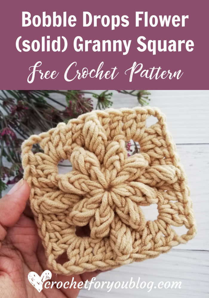 Bobble Drops Flower (solid) Granny Square Free Pattern