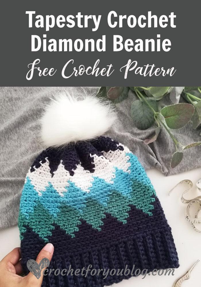 Tapestry Crochet Diamond Beanie Free Pattern