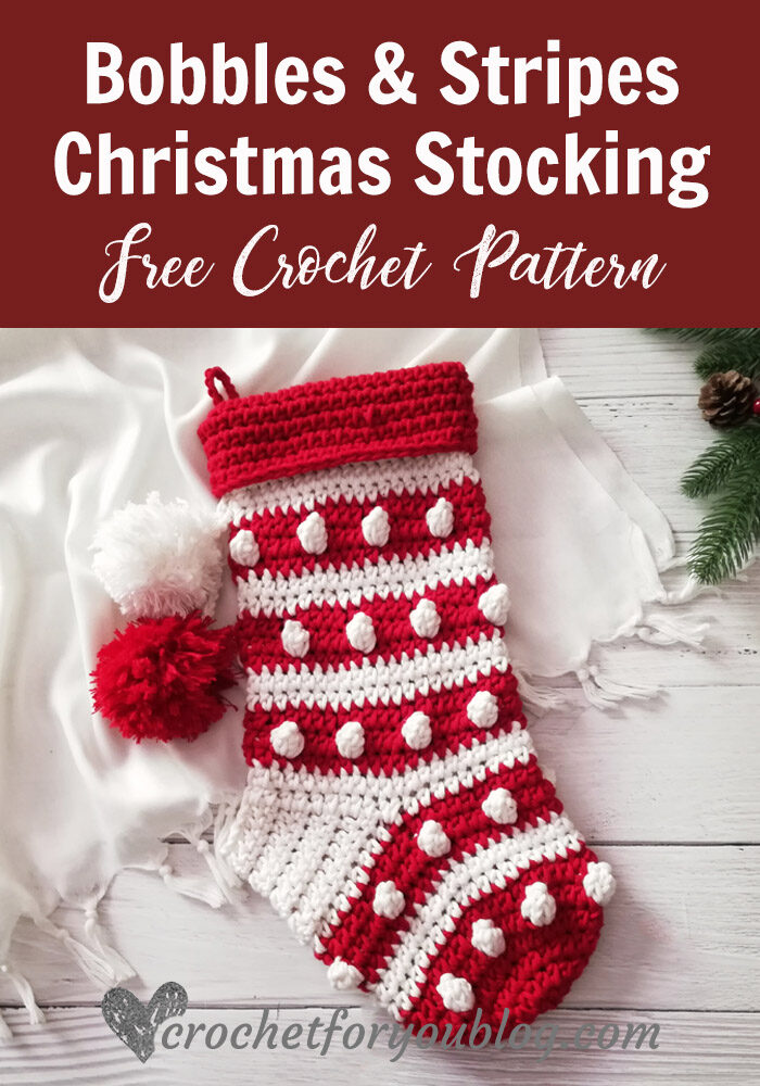 Crochet Bobbles & Stripes Christmas Stocking Free Pattern