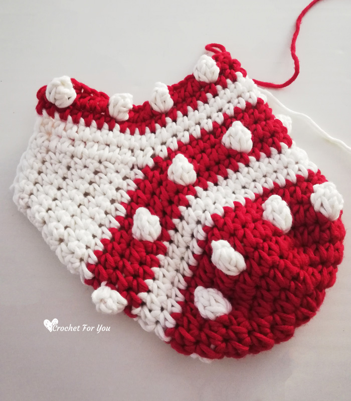 Crochet Bobbles & Stripes Christmas Stocking