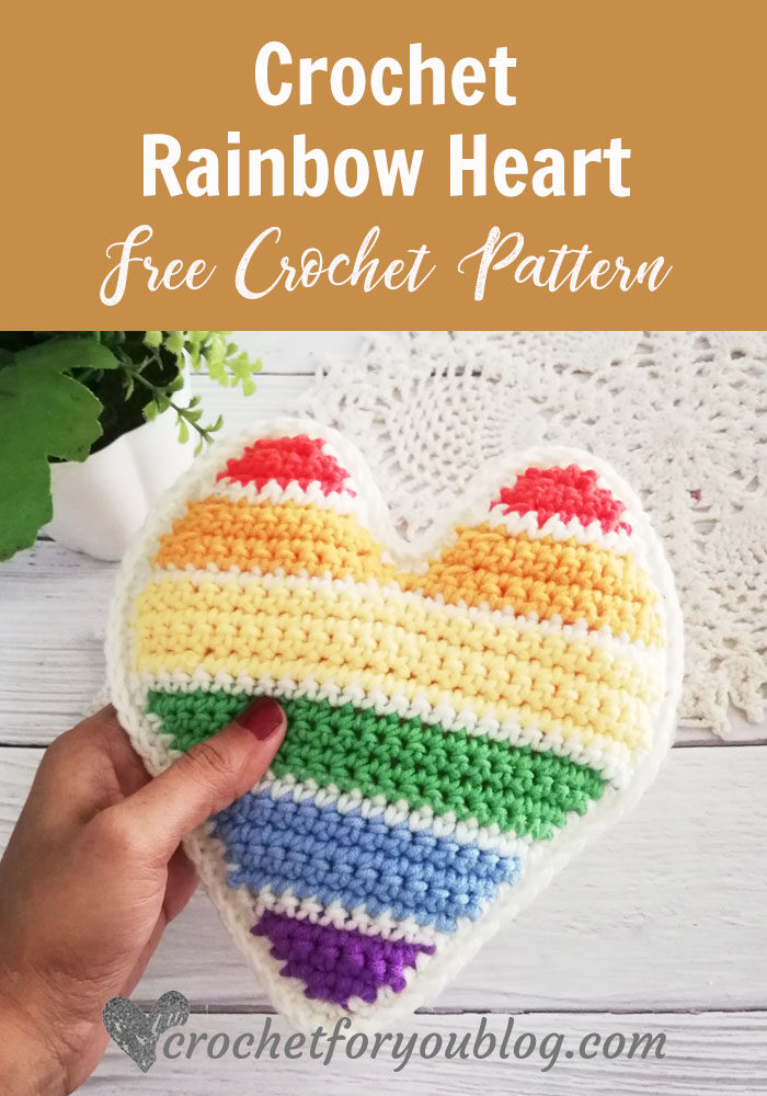 Crochet Rainbow Heart Free Pattern