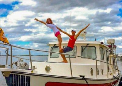 deb on boat