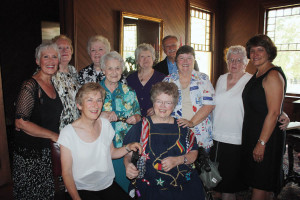Seated L-R) Judith Pattinson; Pinky (Joan) Glass; (Standing L-R) Mariann Stratton, former director, Navy Nurse Corps; Syble Horn; Dottie Leonard; Betty Nagy; Elayne Stewart; Tom Nunns; Anne Marie Nelson; Joan Tulich; and Sandra Peppard share a photo at the Brackenridge Villa on June 26, 2012. All but Horn and Stewart are retired Navy Nurses. Donoghue's friends congregated at the Brackenridge Villa following her memorial services.