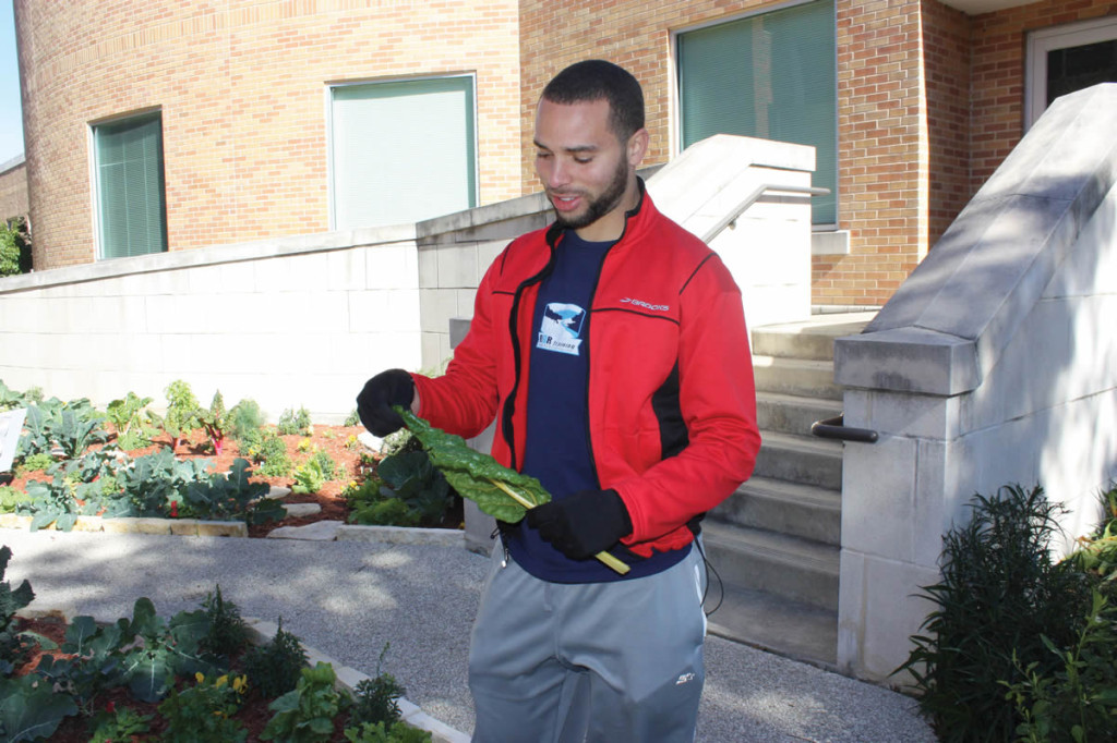 Lucke demonstrates the edibility of a Swiss chard leaf from the garden.