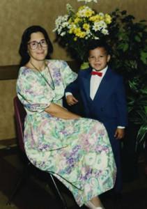 Vasquez pictured with his pre-kindergarten teacher,Terri Harrold '75 BA, at St. Peter Prince of Apostles School.