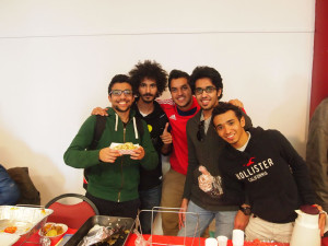 Government-sponsored students Sulaiman Almonsour, Faisal Alshareef, Yousef Alabdullah, Sami Alfayez and Baraa Aljahdali participate in the International Food Festival in the fall.
