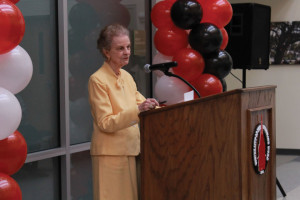 Dr. Geneva Johnson addresses guests at the library dedication held in her honor at UIW's School of Physical Therapy.