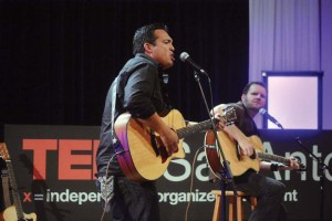 "Alumni Lorenzo ""Chacho"" Saldaña (left) and Brance Arnold (right) perform at the 2014 TEDxSanAntonio event held at Rackspace headquarters in October. Photos courtesy of TEDxSanAntonio and Charles Mims."