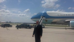 Swart with Air Force One during President Obama's visit to San Antonio in 2012.