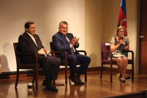 UIW Provost Dr. Kathleen Light (right) introduces U.S. Congressman  Henry Cuellar (TX-28) (left) and Azerbaijan's Ambassador to the U.S.  Elin Suleymanov (center) during their visit to UIW on Oct. 10.